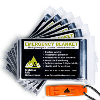 Our 6-Pack of emergency thermal blankets are individually packed